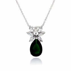 Sterling Silver Green Cubic Zirconia Pendant Necklace -
