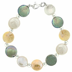 Sterling Silver Iridescent Freshwater Cultured Round Coin Pearl White Green Yellow Bead Bracelet