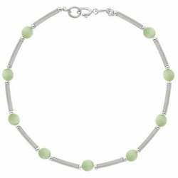 Sterling Silver Light Green Cats Eye Bar & Bead Bracelet