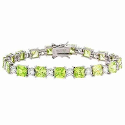 Sterling Silver Light Green & Clear CZ Round & Square Tennis Bracelet