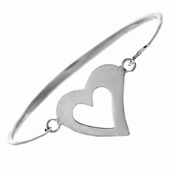 Sterling Silver Open Heart Bangle Bracelet