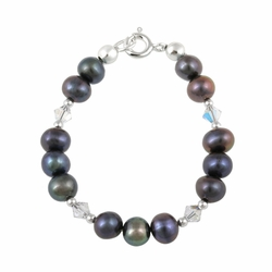 Sterling Silver Peacock Freshwater Pearls & Clear Swarovski Elements Baby Bracelet, 5 Inches