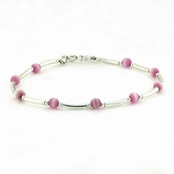 Sterling Silver Pink Cats Eye Bar and Bead Bracelet