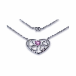 Sterling Silver Pink Cubic Zirconia Heart Pendant Necklace -