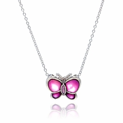 Sterling Silver Pink Cubic Zirconia Mother of Pearl Butterfly Pendant Necklace -