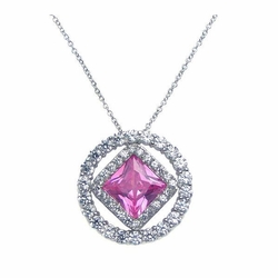 Sterling Silver Pink Cubic Zirconia Pendant Necklace -