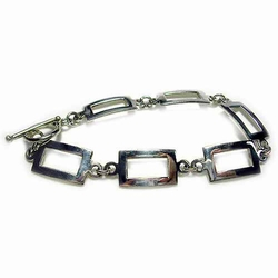 Sterling Silver Polished Rectangle Link Bracelet