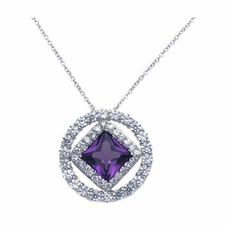 Sterling Silver Purple Cubic Zirconia Pendant Necklace -