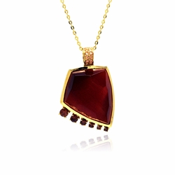 Sterling Silver Red Cubic Zirconia Pendant Necklace 18 Inches -