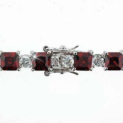 Sterling Silver Red Sqaure and Simulated Diamond CZ  Circle Bracelet