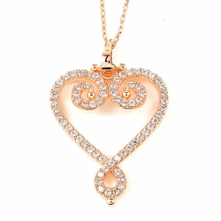 Sterling Silver Rhodium Plated and Pink Cubic Zirconia Necklace 345-DBN666 -