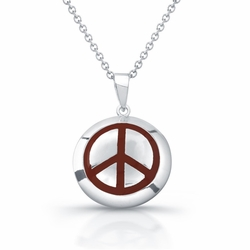 Sterling Silver Rhodium Plated with Red Enameled Peace Necklace 345-DBN234R -