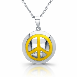 Sterling Silver Rhodium Plated with Yellow Enameled Peace Necklace 345-DBN234 -