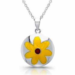 Sterling Silver Rhodium Plated Yellow Flower Necklace  345-DBN233 -