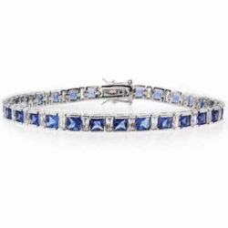 Sterling Silver Square Tanzanite & Clear CZ Tennis Bracelet