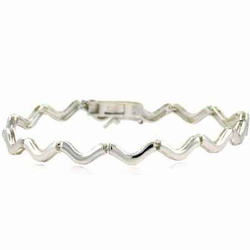 Sterling Silver Swirl Linked Bracelet