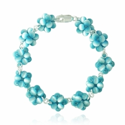 Sterling Silver Teal Cats Eye Bead Cluster Bracelet