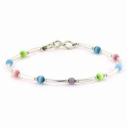 Sterling Silver Teal, Pink, Light Blue, Green, and Purple Cats Eye Bar and Bead Bracelet