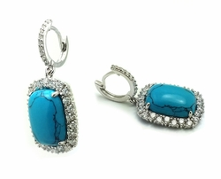 Sterling Silver Turquoise Cubic Zirconia Dangle Earrings -