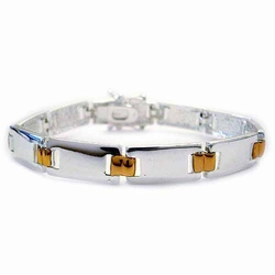 Sterling Silver Two Tone Rectangle Link Bracelet