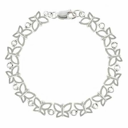 Summer Filigree Butterfly Link Sterling Silver Tennis Bracelet