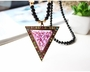Sweater Long Chain Necklace Triangle Purple Decoration Pendant
