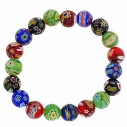 Venetian Murano Glass Beaded Millefiori Flower Stretch Bracelet