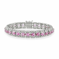 Vintage-look Sterling Silver lab-created Pink Sapphire bracelet with genuine Diamond accents