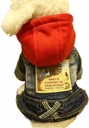 Warmth Pet Dog Clothes Winter Dress Jeans Wear Red Hat