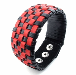 Weaved Black and Red Leather Bracelet -