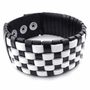 Weaved Black and White Leather Bracelet -