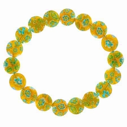 Yellow Millefiori Murano Glass Disc Stretch Bracelet