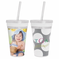 ***Clearance Priced***NEW 16 oz. Embroidery/Photo Insert Slurpy Tumbler with Straw