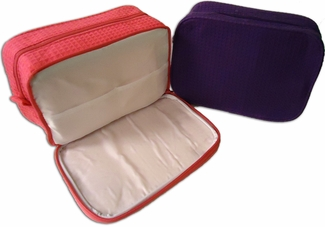 Waffle Weave Cosmetic Bag - Two Compartment