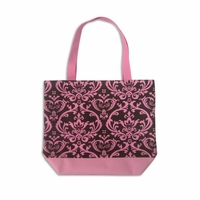 Clearance Priced - Damask Print Canvas Tote Bags - Brown/Pink