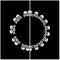 "Clearance Priced - Skull 3"" Circle - QuickStitch Embroidery Paper"