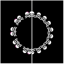"""Clearance Priced - Skull 3"""" Circle - QuickStitch Embroidery Paper"""
