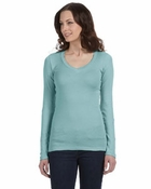 Ladies'  Andrea Sheer Rib Longer-Length V-Neck Long-Sleeve T-Shirt