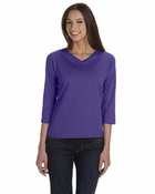 Ladies' Combed Ringspun V-Neck 3/4-Sleeve T-Shirt