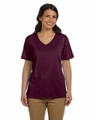 Ladies'  ComfortSoft� V-Neck Cotton T-Shirt
