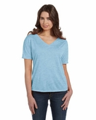 Ladies' Flowy Simple V-Neck T-Shirt