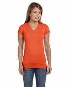 Ladies' Junior Fine Jersey V-Neck Longer Length T-Shirt