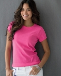 Ladies'  Ringspun 1x1 Ribbed Scoop Neck T-Shirt