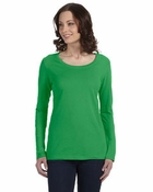 Ladies�  Sheer Long-Sleeve Scoop Neck T-Shirt