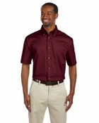 Men's Short-Sleeve Twill Shirt with Stain-Release