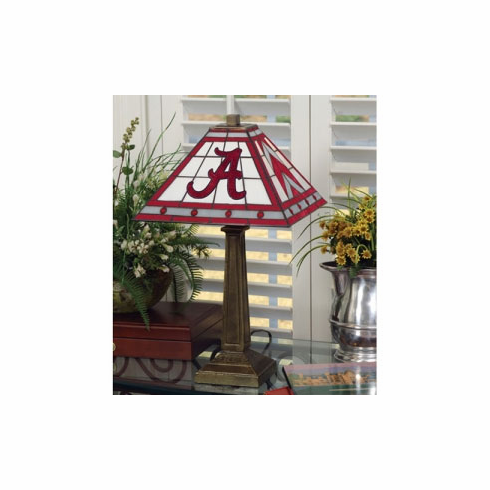 Alabama Crimson Tide Stained Glass Mission Style Lamp - BACKORDERED