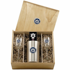 Auburn Tigers Wine Set Box