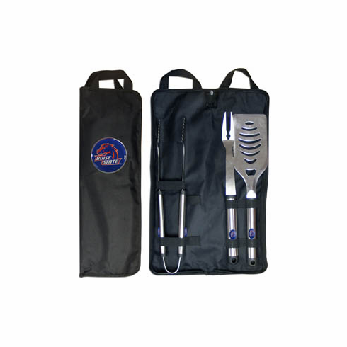 Boise State Broncos 3pc Stainless Steel BBQ Set w/ Bag - BACKORDERED