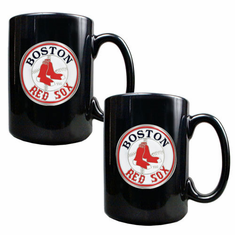 Boston Red Sox 2pc Black Ceramic Mug Set