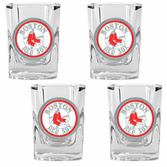 Boston Red Sox 4pc Square Shot Glass Set